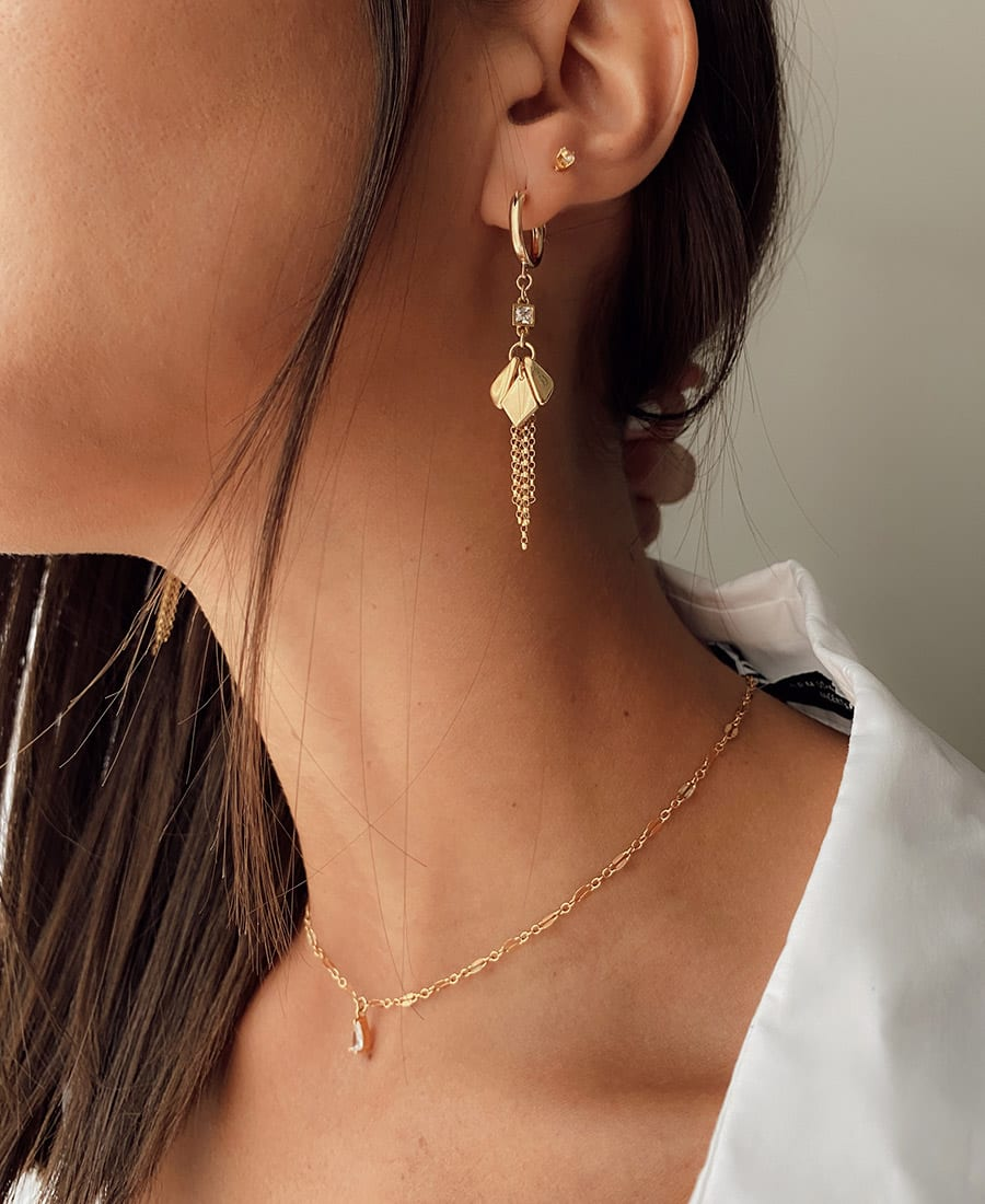 נינה עגילי זהב בשילוב זרקונים עשויים משילוב גולדפילד וכסף