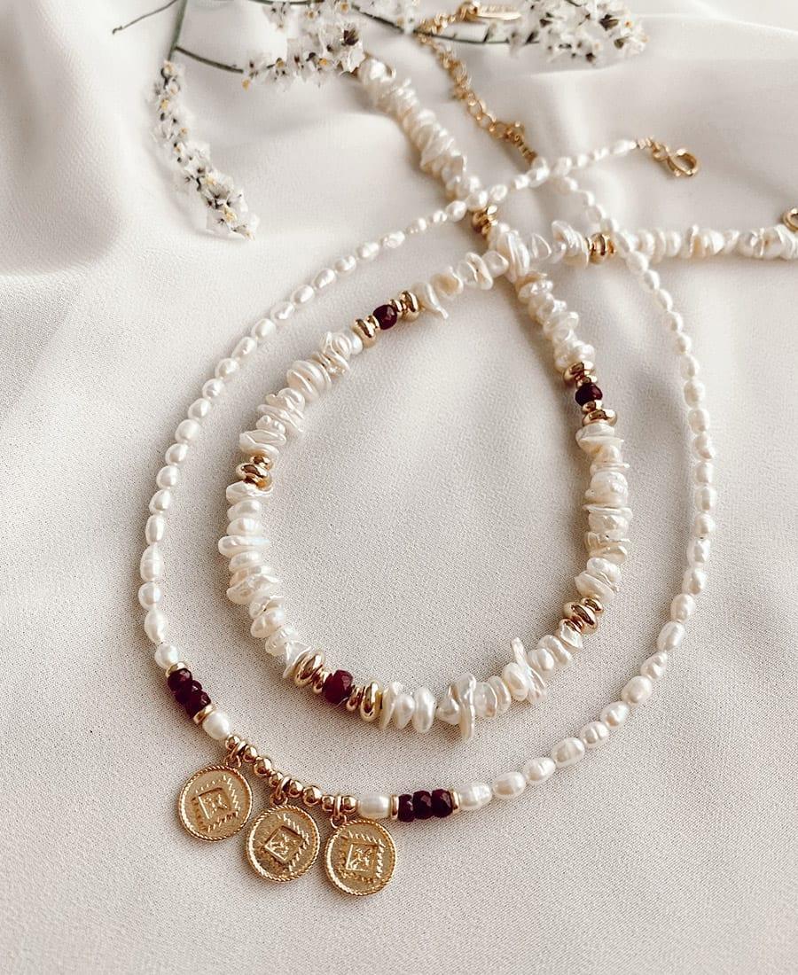 שרשרת פנינים אלמנטים גולדפילד בציפוי זהב 14 קראט