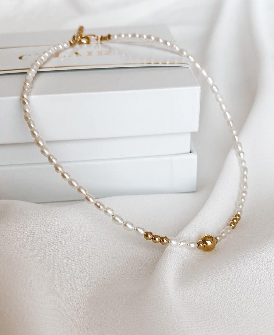שרשרת פנינים בשילוב גולדפילד וציפוי זהב.