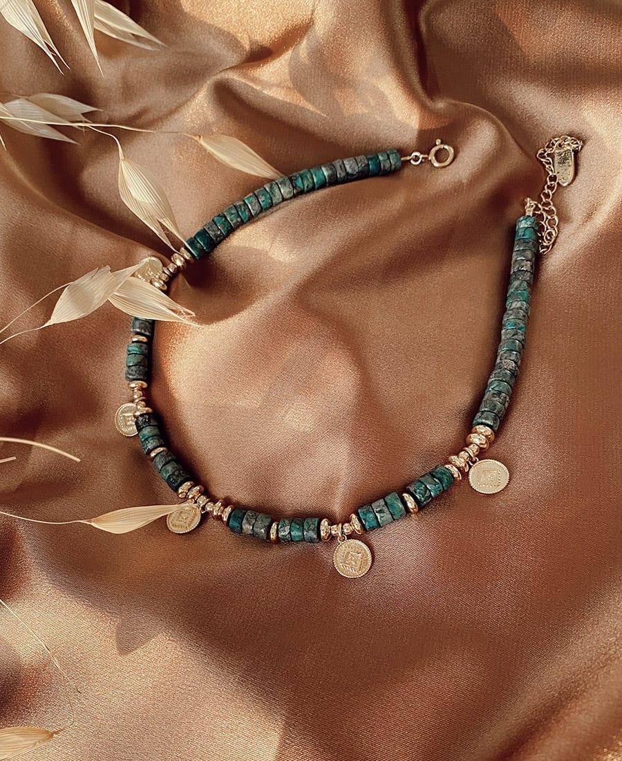 סולטן שרשרת אבני חן ומטבעות אתניים בציפוי זהב
