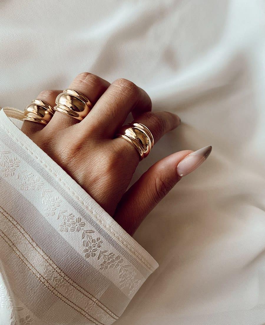 טבעת רנה עשויה פליז בציפוי זהב 14 קראט