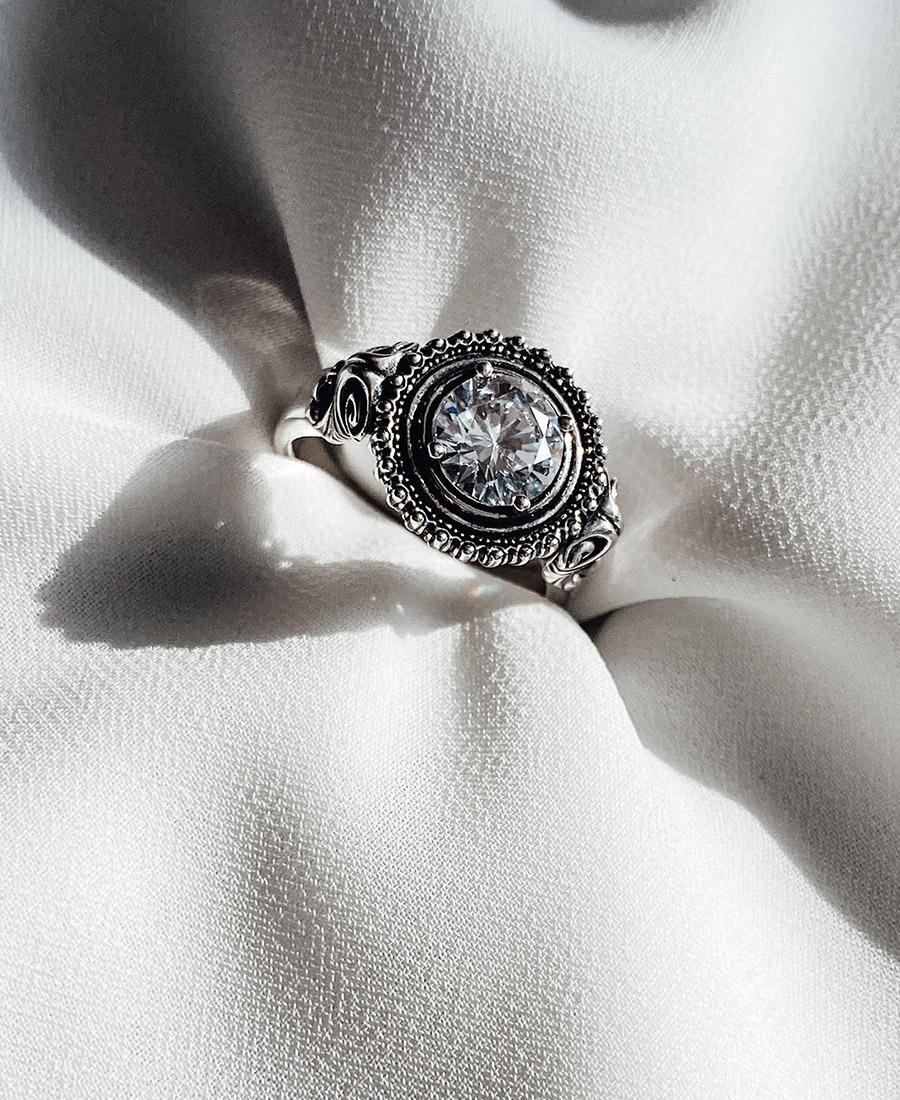 טבעת כסף 925 עם זירקון