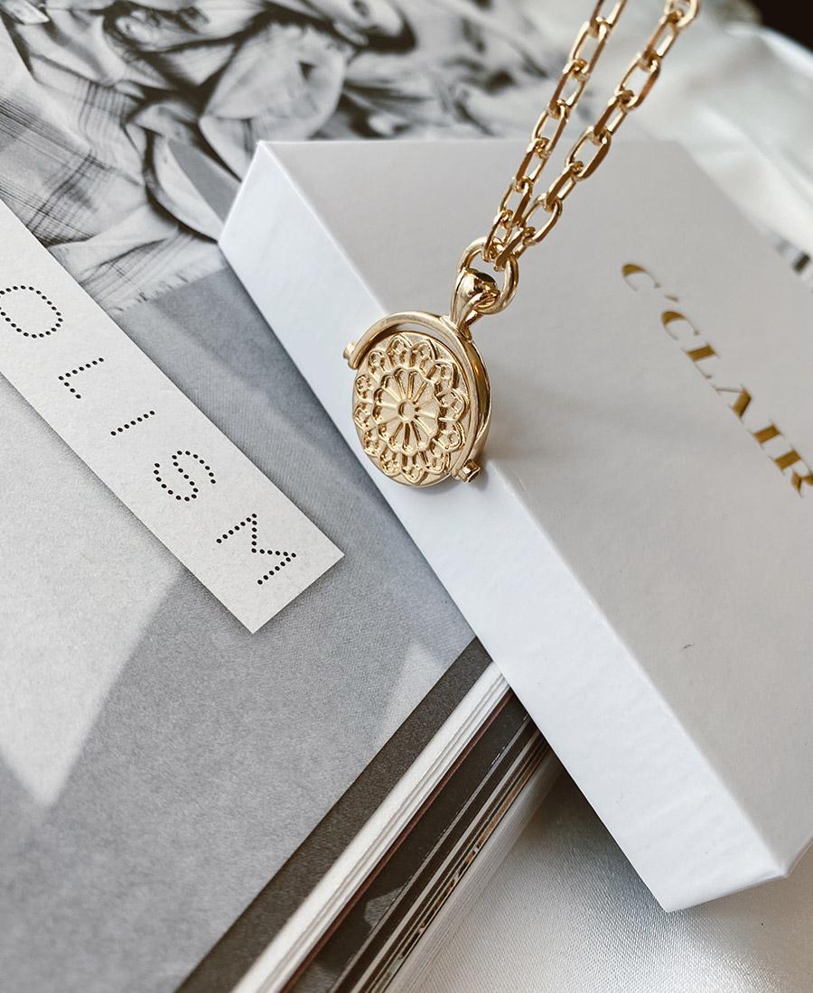 שרשרת ג'אן עשויה כסף 925 מצופה זהב 14 קארט ארוכה עם תיליון
