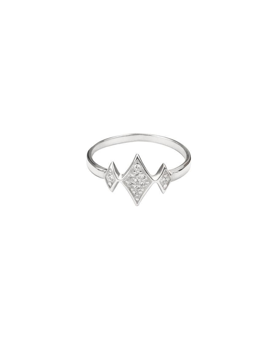 טבעת מיני ג'יין לבנה עשויה כסף