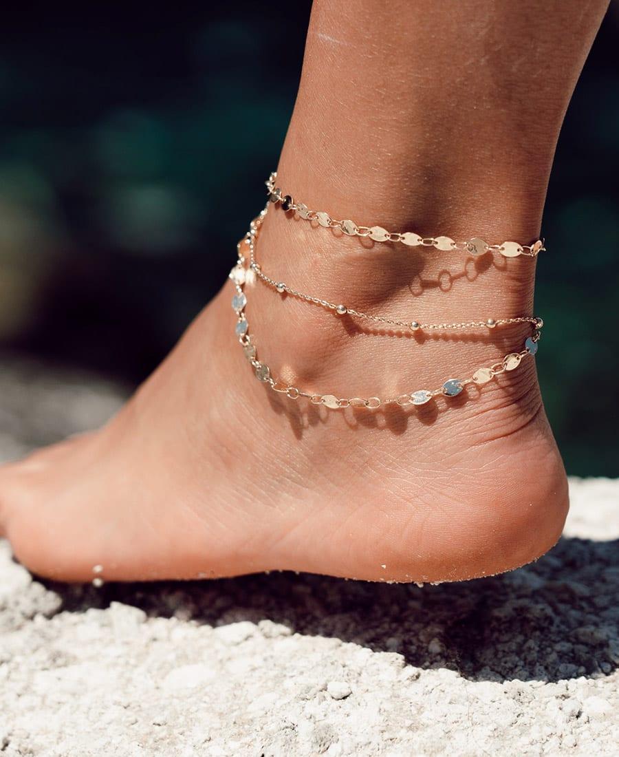 צמיד רגל טריו זהב