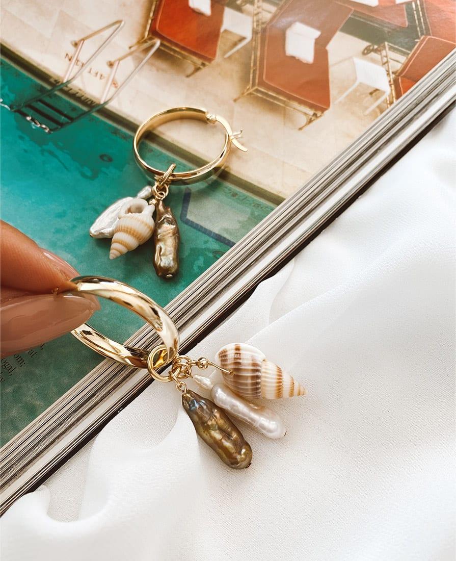 עגילי ריף כסף 925 מצופים זהב בשילוב אבני חן