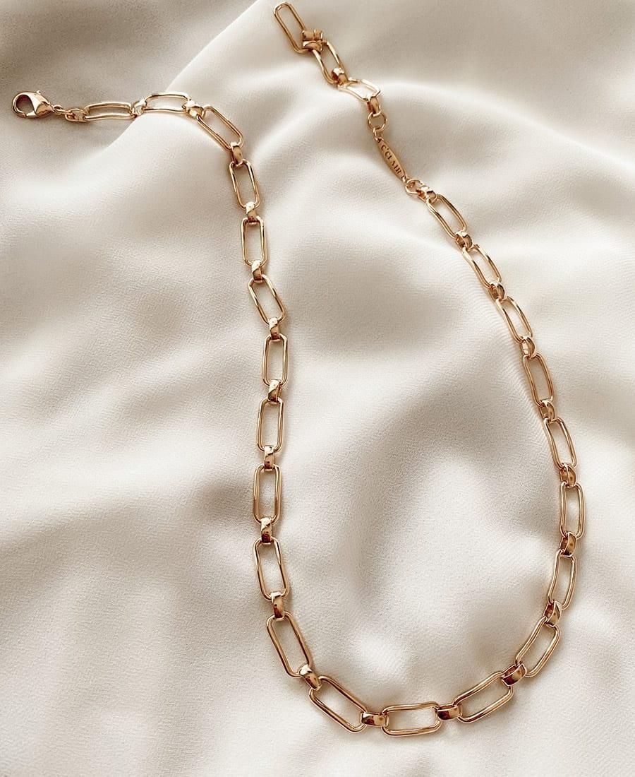 """שרשרת אלמוג בציפוי זהב אורך השרשרת 50 ס""""מ"""