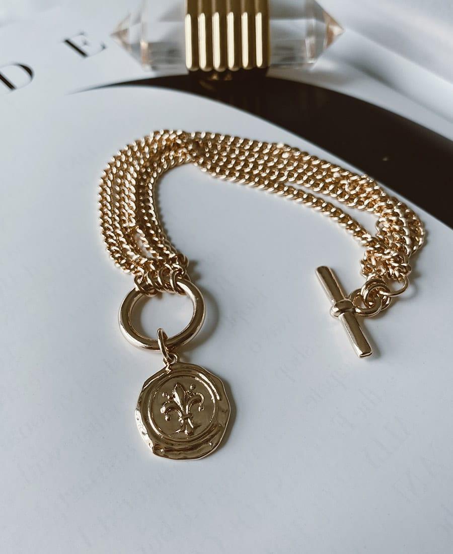 צמיד ג'נגו מצופה זהב ותיליון מצופה זהב