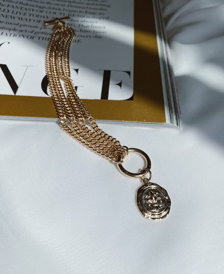 צמיד ג'נגו מצופה זהב ותיליון זהב